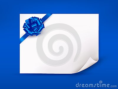 Blue background with sheet of paper
