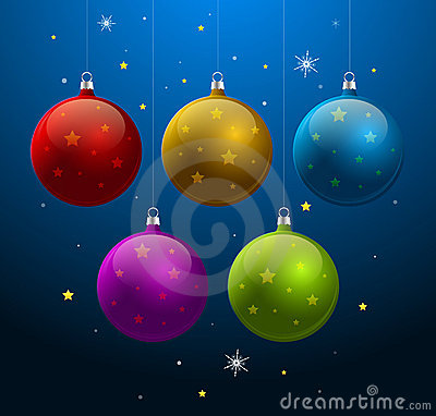 Blue background with shiny Christmas balls
