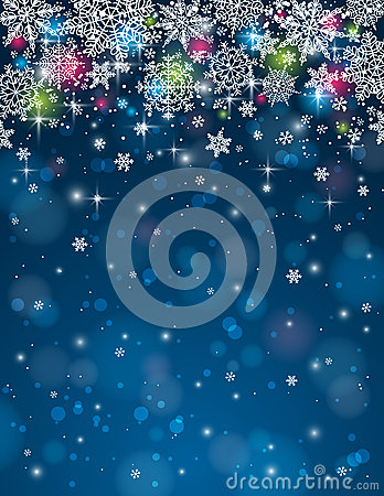 Blue background with snowflakes, vector illustrati