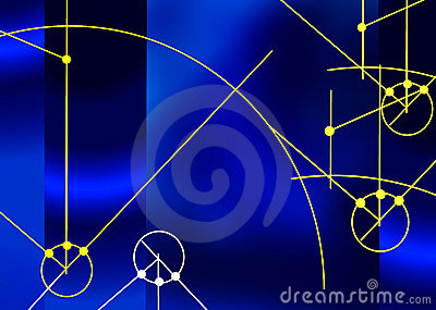 Blue background with technical elements