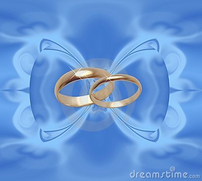 Blue background with wedding rings