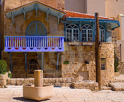 Blue balcony at centre of old Jaffa