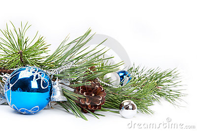 Blue ball and pine branch