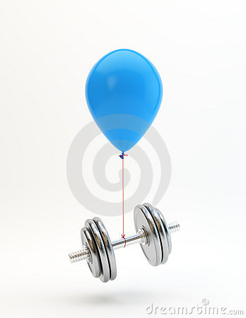 Blue balloon lifting a dumbbell