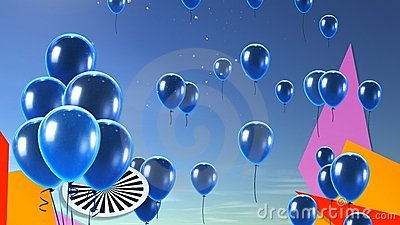 Blue balloon in the sky background