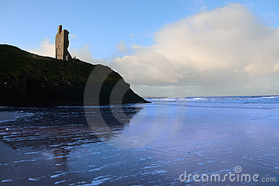 Blue ballybunion beach castle and sea