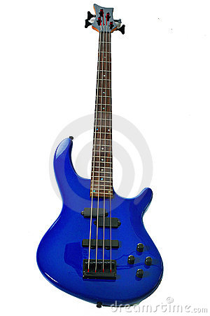 Blue bass guitar