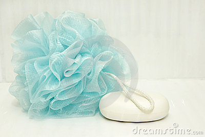 Blue bath puff and soap