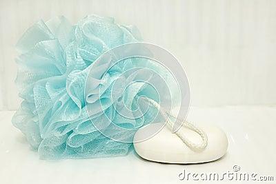 Blue bath puff and soap