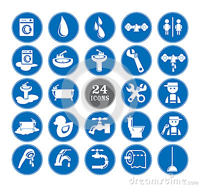 Blue bathroom Icons Set