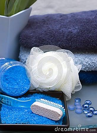 Blue bathroom items