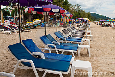 Blue beach-chairs