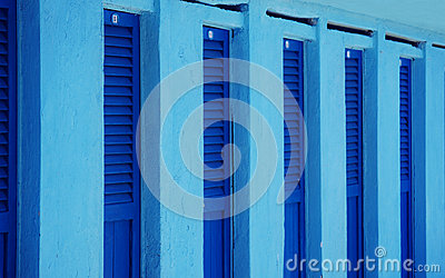 Blue beach changing rooms