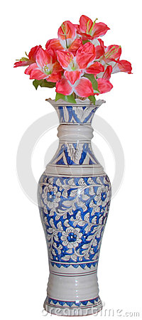 Blue beautiful antique flower vase pink flower HDR