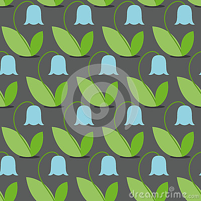 Free Blue Bells Seamless Pattern. Flowers Vector Background. Retro Fa Royalty Free Stock Photos - 59727908