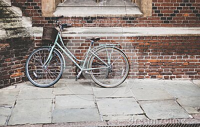 Blue Bicycle Parked On Brown Bricked Wall Free Public Domain Cc0 Image