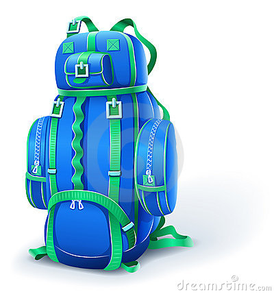 Blue big backpack for travel