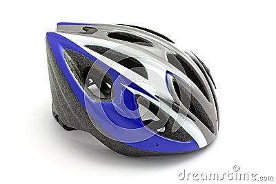 Blue biking helmet