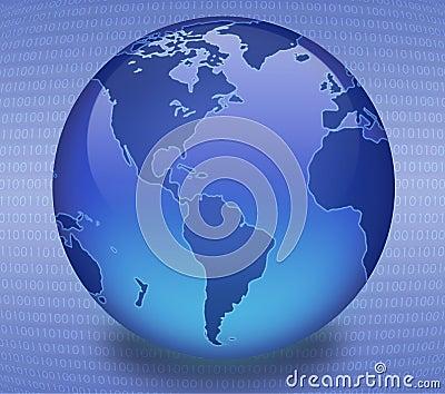 Blue Binary Globe