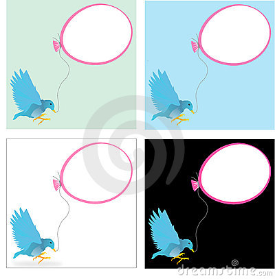Blue bird with a ballon
