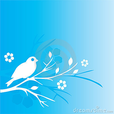 Blue bird and flowers