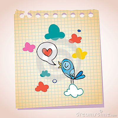 Blue bird love message note paper cartoon sketch