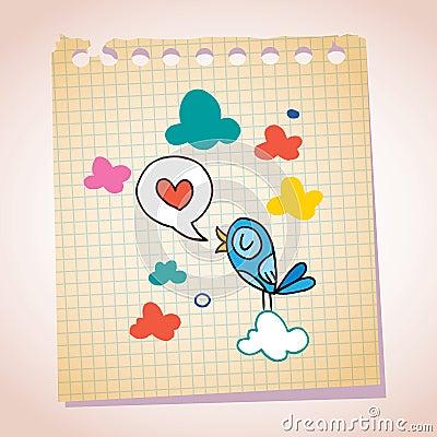 Blue bird love message note paper cartoon sketch