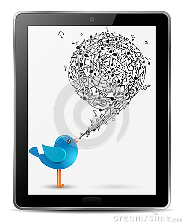 Blue bird with music notes in screen of tablet