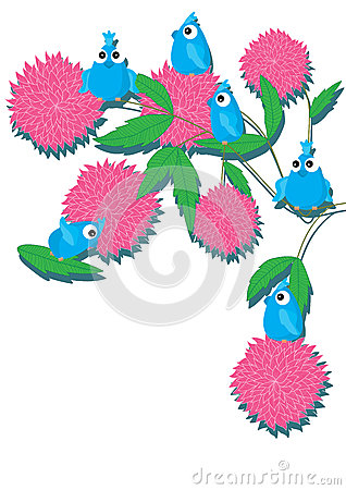 Blue Bird Pink Dahlia Card_eps