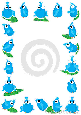 Blue Bird Playing Leaf Frame_eps