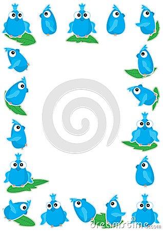 Blue Bird Playing Leaf Frame_eps