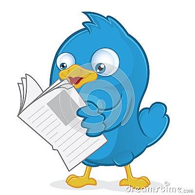Free Blue Bird Reading A Newspaper Stock Photo - 36559690