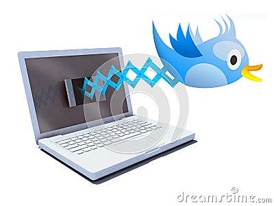 Blue bird tweets and sings on notebook