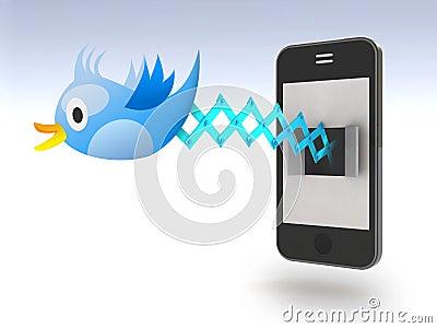 Blue bird tweets and sings on smartphone