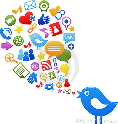 Free Blue Bird With Social Media Icons Royalty Free Stock Photography - 19658407