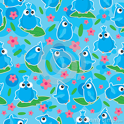 Blue Birds Flower Bloom Seamless Pattern_eps