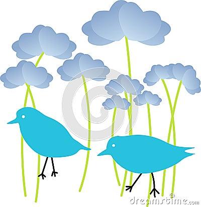 Blue Birds in Flowers