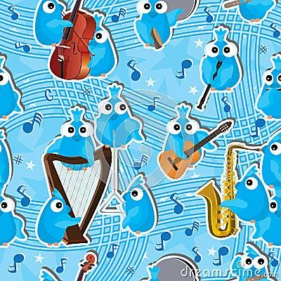 Blue Birds Instrument Seamless Pattern_eps