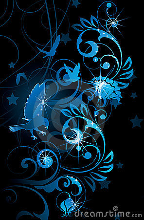 Blue birds and vines
