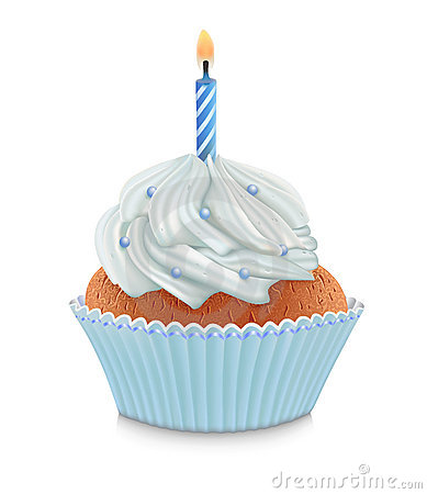 Blue Birthday Cupcake Stock Photography - Image: 17808342