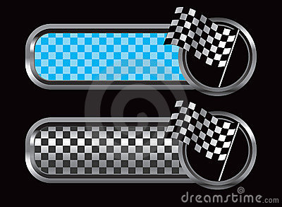 Blue and black checkered tabs with racing flag