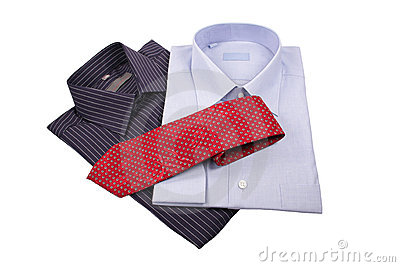 Blue and black  shirts with red tie