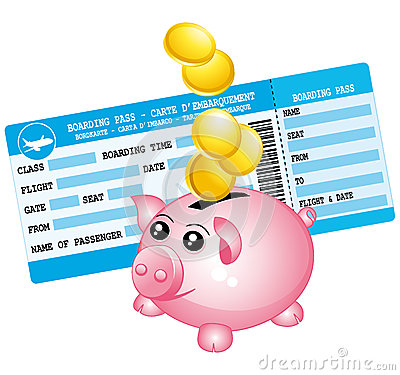 Blue boarding pass and piggy bank icon.