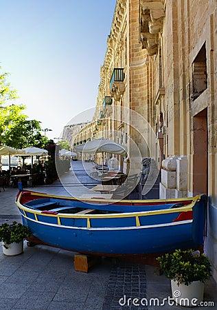 Blue boat in malta
