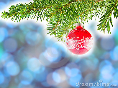 Blue Bokeh Abstract Background with Red Ornament