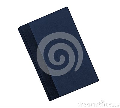 Blue book with black binding