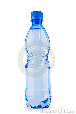 Blue bottle of water isolated on white
