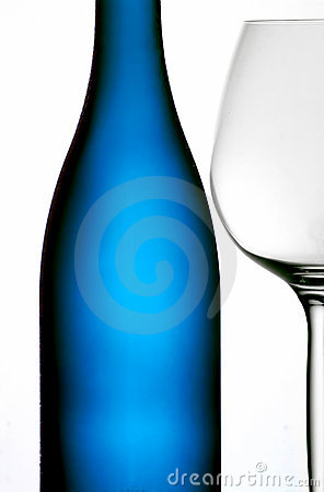 Blue bottle & wine glass