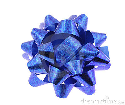 Blue bow on pure white background