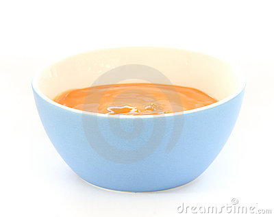 Blue bowl with children fruit porridge / mush with